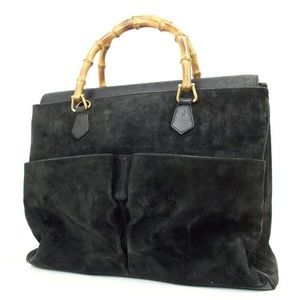 GUCCI Large Bamboo Hand bag Tote Suede Leather